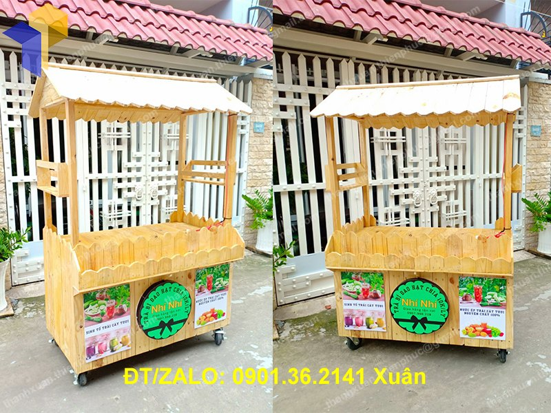 Xe gỗ bán trà sữa làm từ gỗ thông pallet
