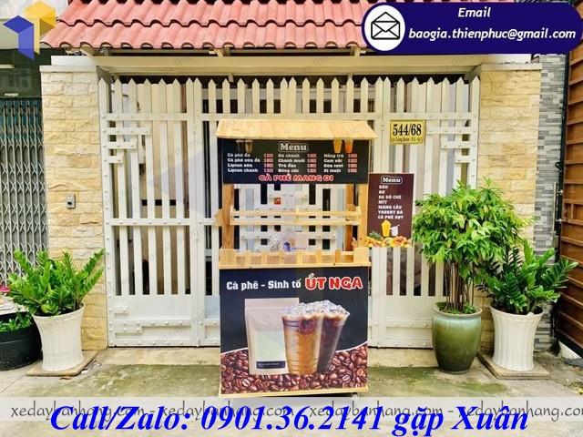 xe gỗ bán cà phê vỉa hè
